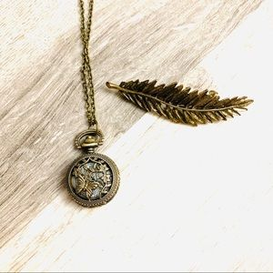 Vintage look necklace - watch locket and hairclip